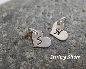 Small heart initial charm - sterling silver heart charm  - 8x10mm - hand stamped initial charm