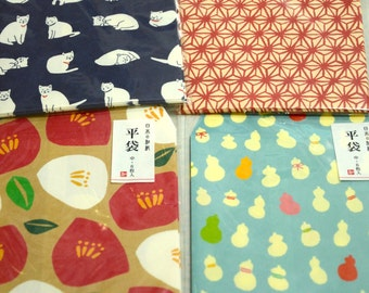 Set of 6 Japanese Washi Paper Pochi Envelope: (Pick 1) White Cat, Traditional Patters, Flowers and Leaves, or Calabash Gourd