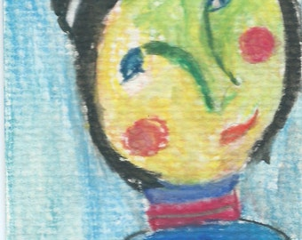 Original ACEO Watercolor Painting - I turned Green