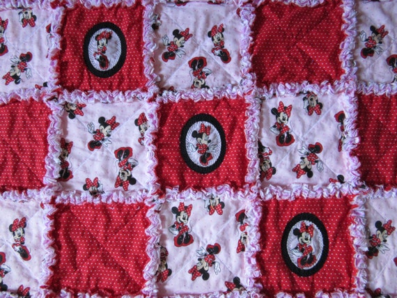 Disney Minnie Mouse Fabric Baby Rag Quilt Blanket By 1723diane