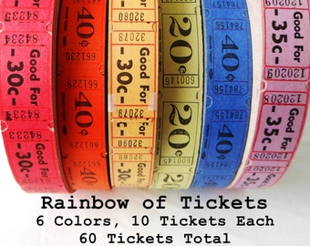 60 Vintage Tickets in a Rainbow of Colors - Carnival Ticket Lot - 10 Raffle Tickets in Each of the 6 Colors - Small Paper Ephemera