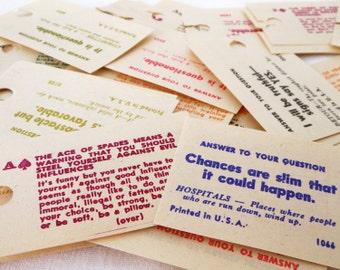Colorful Vintage Fortune Cards - Sets of 28 or 56 - Old Diner Paper Fortunes - Fortune Telling Cards - NOS, Unused