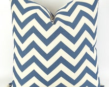 Throw Pillow Cover, Denim Blue Zigzag, Accent Pillow, Euro Sham, Cushion Cover -MANY SIZES- Chevron blue off-white/ecru, Premier Prints