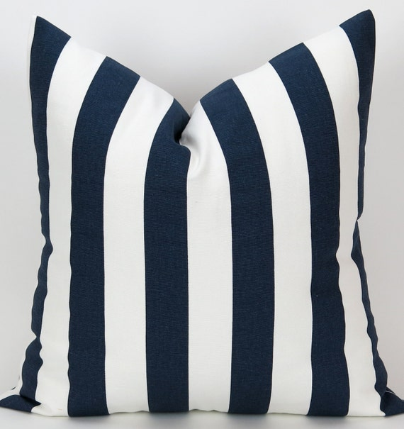 navy stripe pillow cover accent pillow euro by deliciouspillows. Black Bedroom Furniture Sets. Home Design Ideas