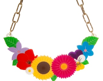 Wildflowers statement necklace - laser cut acrylic