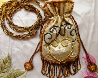 Hand Beaded GOLD Draw String Purse Bag * Evening Special Occasion Shoulder Bag