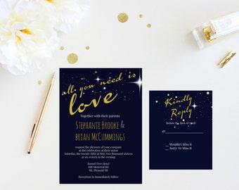 Printable Wedding Invitations; Blue Wedding Invitations; Customized Wedding Invitations
