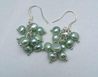 Mint Cultured Freshwater Pearl  Earrings, Pearl Dangle earrings