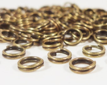 Bronze Split Rings 5mm Antique Brass Iron Metal Double Jump Ring Jumpring Jewelry Making Jewelry Findings Craft Supplies 100pcs