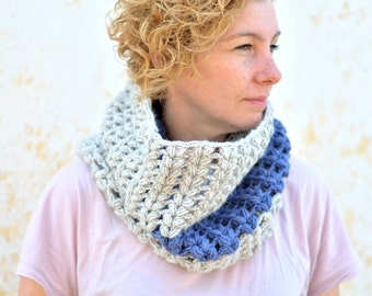 Chunky knit neckwarmer, crochet cowl in blue and light grey, oversized snood, infinity circle hood