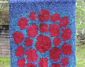 "Large wool Rya Rug ""Ryijy"", hand made Finland- FREE SHIPPING within USA"
