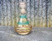 Vintage Genie Bottle Mid Century Turquoise and Gold Glass Vintage Vinegar Glass Vintage Wine Decanter