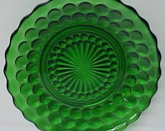 Anchor Hocking Fire King Green BUBBLE 6 3/4 Inch SALAD PLATE