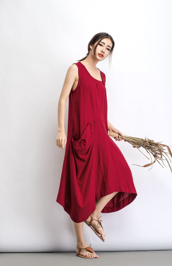 Red Linen Dress Summer Plus Size Pullover Long Loose-Fitting - Etsy