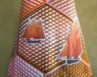 A-line skirt, vintage Dekoplus fabric skirt, honeycomb skirt, sailingboats appliqué skirt, Seventies, orange pink brown white, size Large