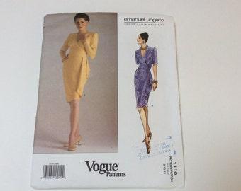Vogue Emanuel Ungaro, Vogue Paris Original, Vogue 1110, Mock Wrap Dress, Uncut, Size 8 10 12