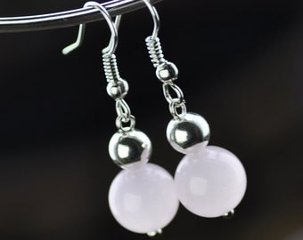 Handcrafted Pink Chalcedony Small Silver Plate  Beaded Long Danlge Hoop Earrings