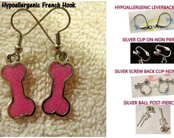 Dog Bone Earrings-Handmade Resin Jewelry -CHOICE- Hypoallergenic French Hook Leverback Post OR Clip On Earrings