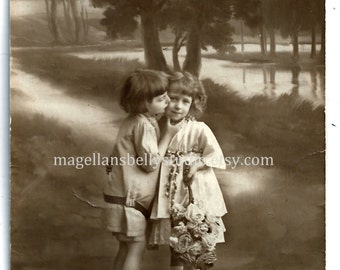 French RPPC Digital Download 1900's Adorable Boy and Girl Kiss on The Cheek Black and White  Sepia  Real Photo Post Card
