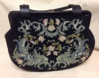 Vintage Petit Point Black Wool Handbag Purse