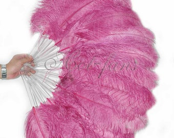 "Fuchsia single layer Ostrich Feather Fan Burlesque Dance showgirl costume 25""x45"""
