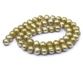 Super SALE Golden Freshwater Pearls, Large Pearl Beads, Banded Potato Pearls--set of 13
