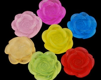 Assorted Flower Cabochons Bulk Resin Flowers Rose 18mm Flower Cabochons Embellishments Wholesale 50 pieces