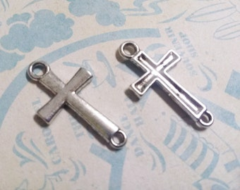 Cross Connectors Bulk Pendants Antiqued Silver Connectors Wholesale 50 pieces