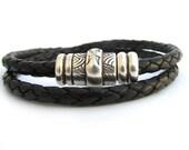 Unisex Double Wrap Braided Leather Bracelet - Black Leather Bracelet - Unisex Bracelet - Unisex Leather Bracelet - Magnetic Clasp - UL11001