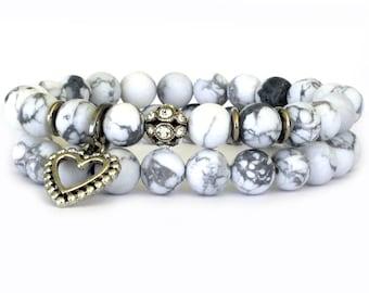 White Howlite Bridal Bracelets - Wedding Jewelry - Charm Bracelet - Wedding Accessory - Wedding Bracelets - Bracelets for Brides - WW1002