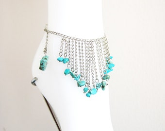 Unique Genuine Turquoise Chain Anklet - Gemstone Anklet - Elegant Anklet,gift for Her,Boot Bling Anklet ,