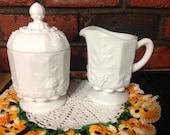 Vintage Westmoreland Milk Glass Sugar/Lid & Creamer Pattern Paneled Grapes 1950