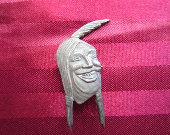 Rare Vintage Indian Motocycle Laughing Face Pin by W&H. Co