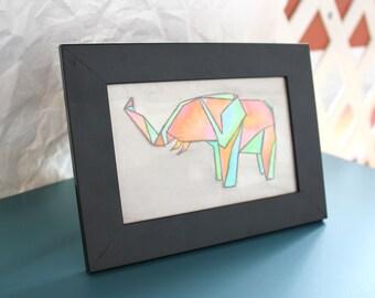 "Origami Elephant 4x6"" Original Watercolor Painting"