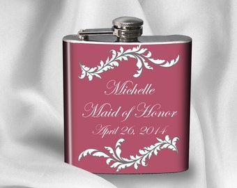 SALE!  Personalized  Bridal Party Flask with names and wedding date - Bridal Party Maid of Honor Bridesmaid - Anniversary