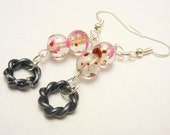 Dangle Earrings: Gunmetal Black Twisted Metal Ring w/ Clear Glass Beads Splashed with Pink and Purple- Hypoallergenic Earrings