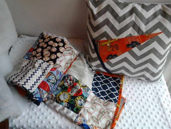 Baseball Baby Boy Quilt and Pillow Baseball Crib Quilt and