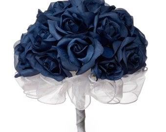 Navy Blue Silk Rose Hand Tie (24 Roses) - Silk Bridal Wedding Bouquet
