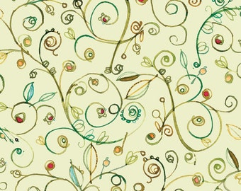 Ariel fabric by Quilting Treasures Vines on Light Moss Yardage