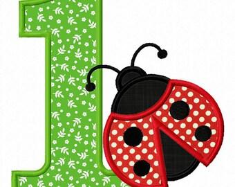 Instant Download Ladybug Number 1 Applique Embroidery Design NO:1284