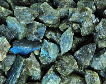 Fantasia Materials: 1 lb Labradorite Mine Run Rough - Raw Natural Crystals for Tumbling, Wrapping, Polishing, Reiki and More!