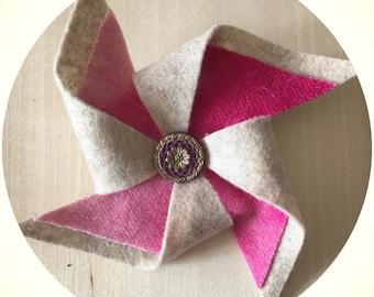 Large pink/sand Felt Pinwheel Hair Clip