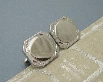 Wide Tie Clip Cufflink Set Mens Vintage Jewelry H695