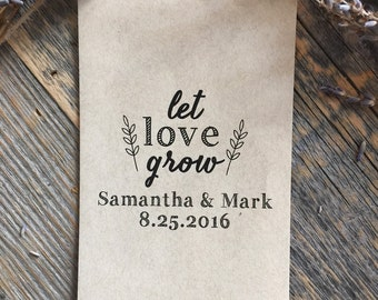 75 Customized Eco-Friendly Let Love Grow Seed Favor Kraft Envelopes