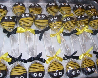 Bumble Bee or Ladybug Oreo Pops Baby Shower Birthday Party or Wedding Favors Bumble Bee Oreo Pop 1 dozen