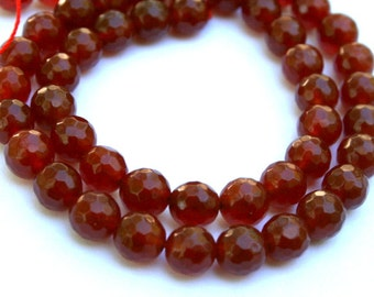 8 mm Beautiful Red Faceted Agate Beads