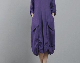 avant-garde 100% hand- dyed natural linen lagenlook big pocket detail feminine sun dress