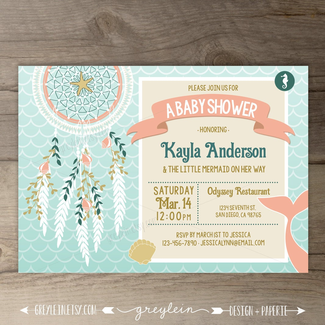 mermaid baby shower invitations dreamcatcher bohemian