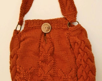 Hand-knit rust-colored purse/bag/pocketbook/tote