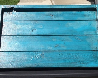 Ottoman tray, antiqued turquoise wood serving tray, rustic serving tray with handles, laptop wooden tray, oversized serving tray